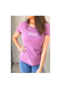 Camiseta Algodão - Cor De Uva