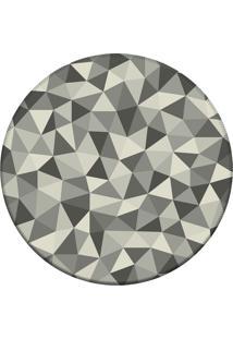 Tapete Love Decor Redondo Wevans Geométrico Cinza 84Cm