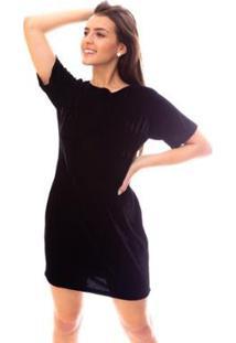 Vestido Moda Vicio Camiseta Veludo Feminino - Feminino