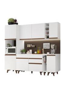 Cozinha Completa Madesa Reims 235002 Com Armário E Balcão Branco Cor:Branco