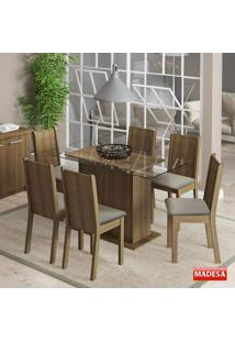 Conjunto Para Sala De Jantar Mesa E 6 Cadeiras Molly Madesa Rustic/Pérola