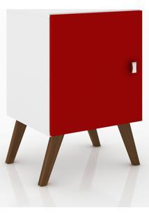 Rack Auxiliar Com 1 Porta Móvel Bento Branco/Vermelho