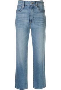 Slvrlake Calça Jeans London Cropped Cintura Alta - Azul