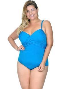 Maiô Plus Size Meia Taça Turquesa Agridoce Feminino - Feminino-Azul