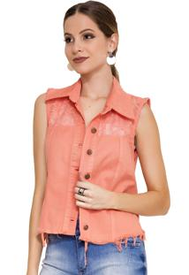 Colete Rosa K Renda Color Coral