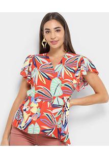 Blusa Lily Fashion Transpasse Babado Feminina - Feminino-Verde+Vermelho
