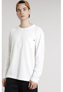 Camiseta Masculina Em Moletom Flamê Com Bolso Manga Longa Gola Careca Off White