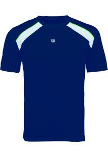 Camiseta Tour Masculino Marinho/Branco G - Wilson