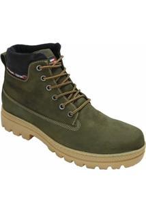 Bota Couro Coturno Atron Shoes Urbana Masculino - Masculino-Musgo