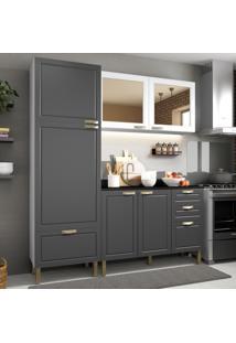 Cozinha Completa 4 Peã§As Americana Multimã³Veis 5902 Branco/Grafite - Branco/Incolor - Dafiti