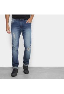 Calça Jeans Slim Acostamento Estonada Rasgos Masculina - Masculino-Azul