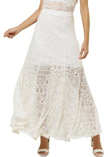 Saia Mx Fashion Longa De Renda Serena Off White - Off-White - Feminino - Renda - Dafiti
