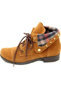 Bota Cristhi Shoes Lapela Xadrez Caramelo