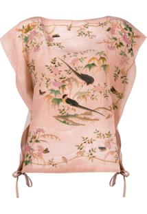 Red Valentino Graphic Print Draped Sleeves Blouse - Rosa