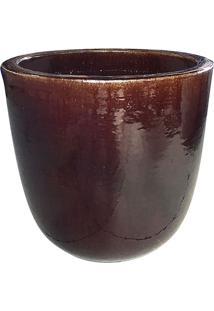 Vaso Egg Envernizado- Marrom Escuro- 31Xø26Cm- Ccompanhia Das Folhas