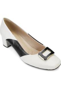 Scarpin Lady Queen Feminino - Feminino-Branco+Preto