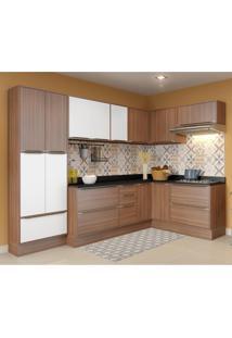 Cozinha Compacta Calábria Com Rodapé, Aéreos, Paneleiro E Balcão Nogueira/ Branco/ Preto