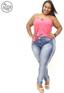 Calça Jeans Bokker Jeans Plus Size Reta Chayane Azul