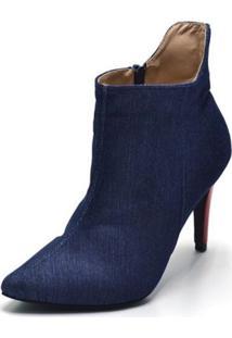 Bota Cano Curto Bico Fino Jeans Azul - Tricae
