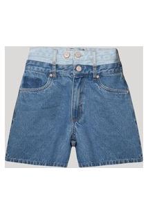 Bermuda Vintage Jeans Com Cós Duplo Cintura Super Alta Bff Azul Médio