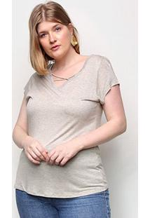 Camiseta Lecimar Tiras Feminina - Feminino-Bege