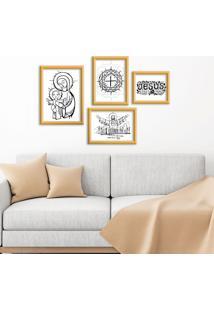 Kit 4 Quadros Com Moldura Dourada Jesus