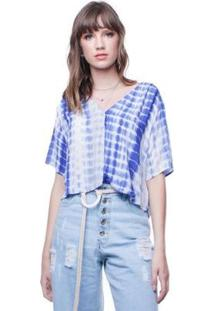 Blusa Tie Dye Abotoamento Frontal Pop Me Feminina - Feminino-Azul