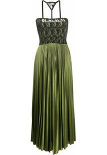 Christopher Kane Vestido Midi Com Pregas E Recorte De Renda - Verde