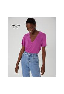Amaro Feminino T-Shirt Decote V Degrau, Rosa