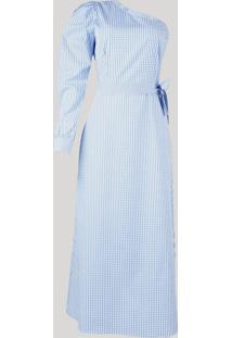 Vestido Feminino Mindset Midi Um Ombro Só Estampado Xadrez Vichy Manga Bufante Azul Claro