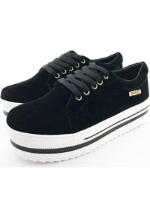 Tênis Quality Shoes Feminino 007 Camurça Preto Sola Branca Com Detalhe 36