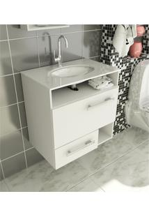 Gabinete Para Banheiro 60 Cm Com 2 Peças Linea 17 Branco Tomdo
