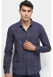 Camisa Xadrez Manga Longa Calvin Klein Silk Masculina - Masculino-Marinho