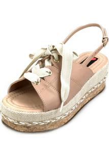Sandália Anabela Love Shoes Fechada Cadarço Amarração Nude