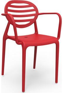 Cadeira Stripe Com Braço Vermelho