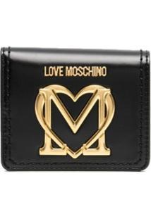 Love Moschino Carteira Com Placa De Logo - Preto