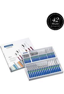 Conjunto Tramontina Talheres Inox 42Pc Cor & Cor Azul/Branco