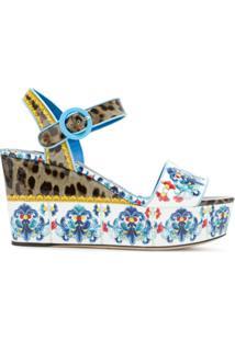Dolce & Gabbana Sandália Plataforma Estampada - Estampado