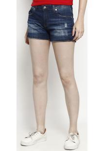 2db83b6ac8e0a ... Short Jeans Com Puídos - Azul Escurolacoste