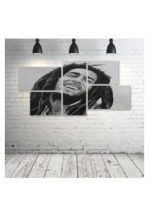 Quadro Decorativo - Bob-Marley-Drawing - Composto De 5 Quadros