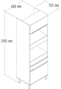 Paneleiro Torre Quente 3 Portas 1 Gavetas Com Pés Modulado Slim Decibal Acácia/Branco