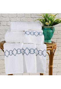 Toalhas De Banho Gigante Livorno Cor Azul E Branco Com 5 Peças - Ruth Sanches,