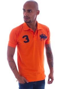 Camiseta Polo Rockstar 3 Cavalos Laranja