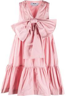 Msgm Vestido Com Laço - Rosa