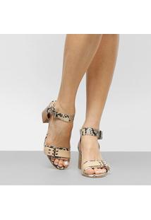 Sandália Couro Shoestock Salto Grosso Ilhós Feminina