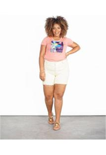 Bermuda Besni Sarja Color Plus Size Feminina - Feminino-Amarelo