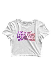 Blusa Blusinha Feminina Cropped Tshirt Camiseta O Beijo Branco
