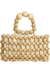 Bolsa Mini Bag Artestore De Madeira Em Bolinhas Entremeadas
