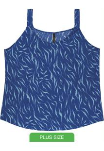 Blusa Com Estampa Animal Print Azul