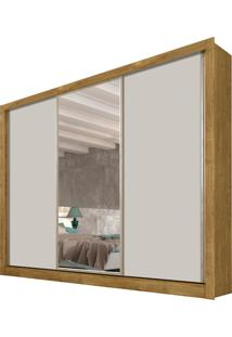 Roupeiro 3 Portas Dubai C/ Espelho Ipe Rustic/Off White Tcil Móveis
